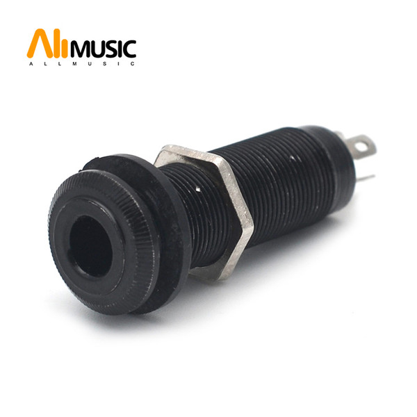 "top popular 10pcs lot Chrome Threaded Cylinder output Input Guitar Bass Jack Plug Socket 1 4"" 6.35mm Pickup Output Jack MU0589-3 2019"