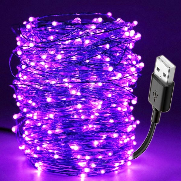 10M Led Black Light UV String USB Christmas Halloween Party Lampada da bar impermeabile fai da te Stage germicida Haunted House Ultraviolet