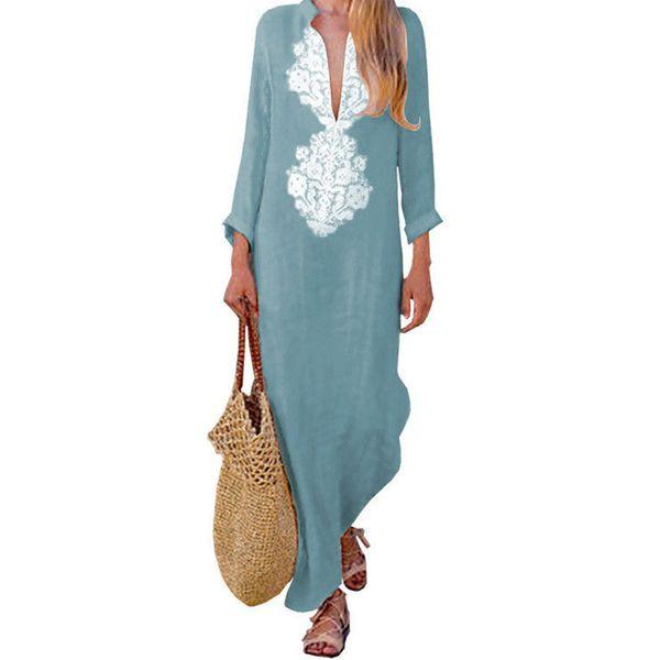 Mujer manga larga Casual Tight Long algodón lino Maxi