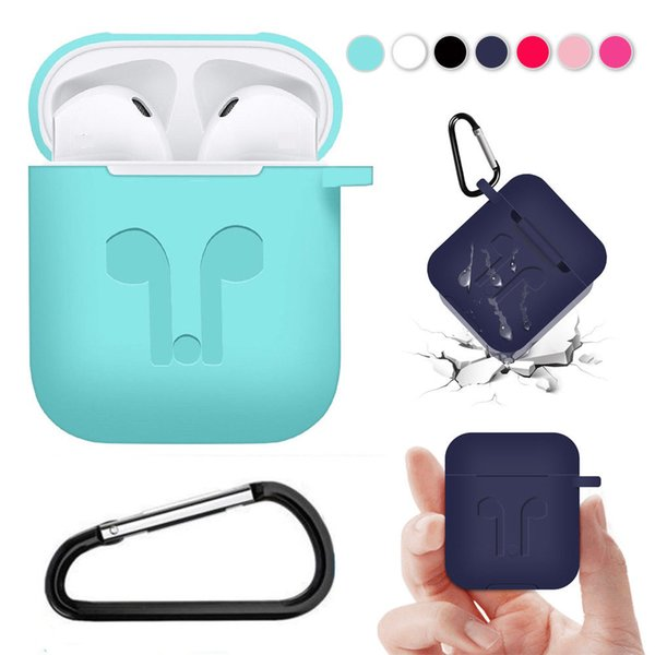 Silicone Cases Pouch earphones protector For Apple AirPods Protective with Anti-lost Strap Dust Plug Hook for iPhone 7 8 XR XS MAX