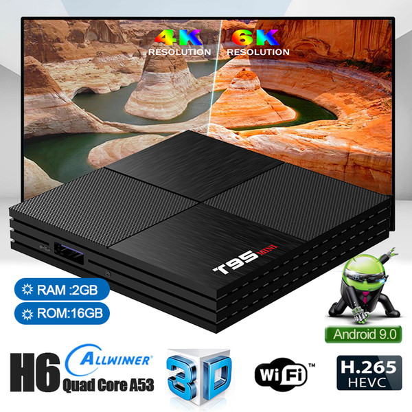 1 Parça T95 MINI Android 9.0 Akıllı TV Kutusu 6 k Allwinner H6 Dört Çekirdekli 2 GB 16 GB 2.4 GHz IPTV Set Top Box