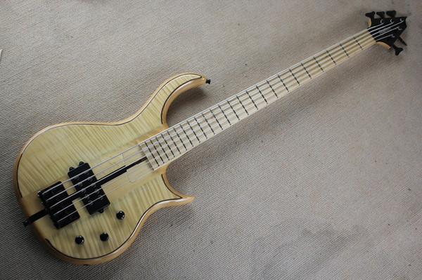 top popular New 5 strings Original Body Electric Bass Guitar with Flame Maple Veneer,Chrome Hardware,Maple Fingerboard,offer customize 2021