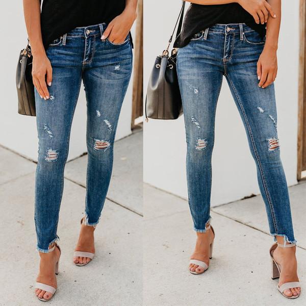 Sexy Womens Jeans denim jeans strappati Hole pantaloni a vita alta Stretch Slim Fit matita dei pantaloni