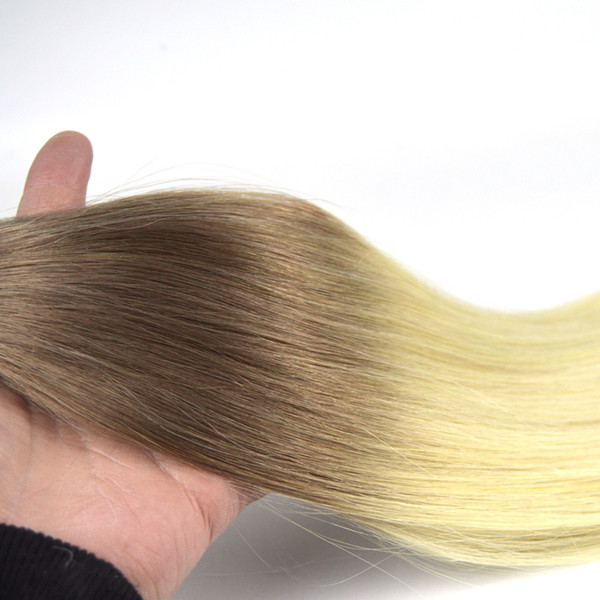 Straight Us Tape PU Virgin Remy Human hair Straight Hair Colour 6 Fading to 60 Double Drawn Tape Hair Extensions