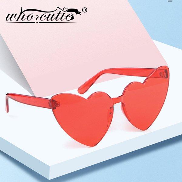 Venta al por mayor 2019 sin montura en forma de corazón gafas de sol mujeres cat eye marco diseño de marca caramelo colorido sin marco gafas de sol niñas OM872