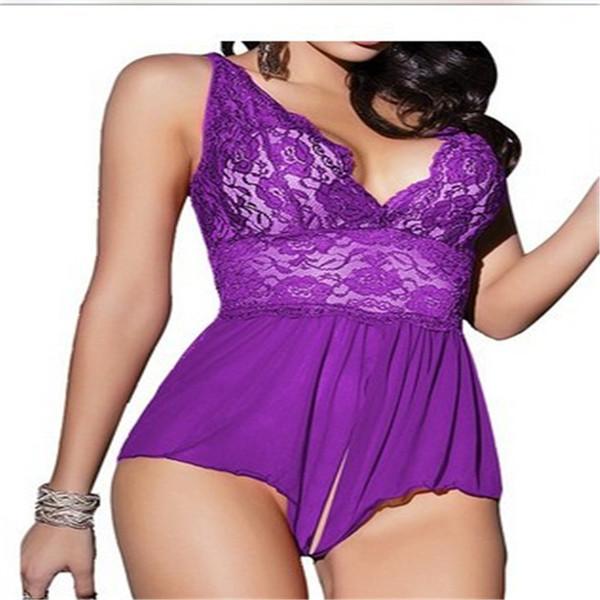 Europa Sexy Trajes Mulheres Transparente Rendas Apelo Pijama Grande Tamanho Grande Exótico Com Decote Em V Sexy Lingerie Babydoll Erotic Teddy 5xl Y19070302
