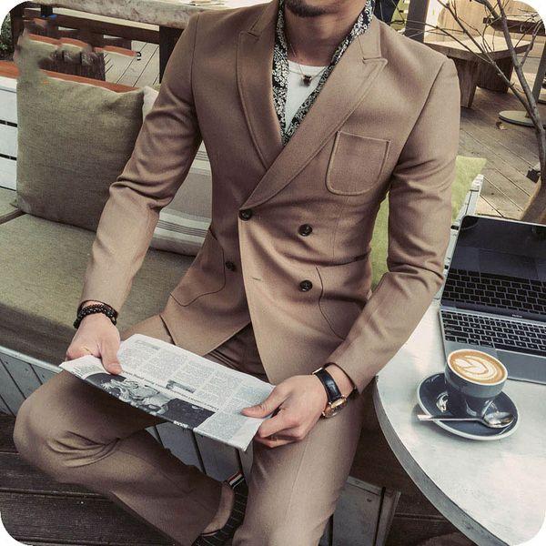 2 шт. двубортный мужской костюм Классический Fit человек блейзер куртка остроконечный отворот последние пальто брюки дизайн костюм Homme формальный деловой человек наряд