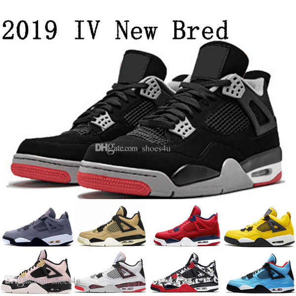 2019 New Bred FIBA 4 4s IV What The Cactus Jack Laser Wings Mens Basketball Shoes Denim Blue Eminem Pale Citron Men Sports Designer Sneaker