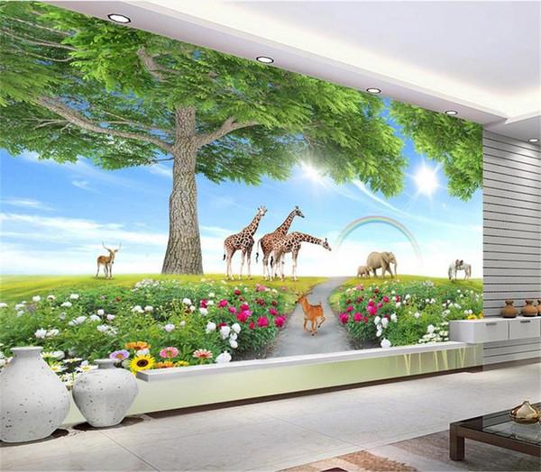 Нестандартный Размер 3D Фото Обои Гостиная Фреска Большое Дерево Животный Мир 3D Изображение Диван ТВ Фон Home Decor Творческий Отель Исследование Обои