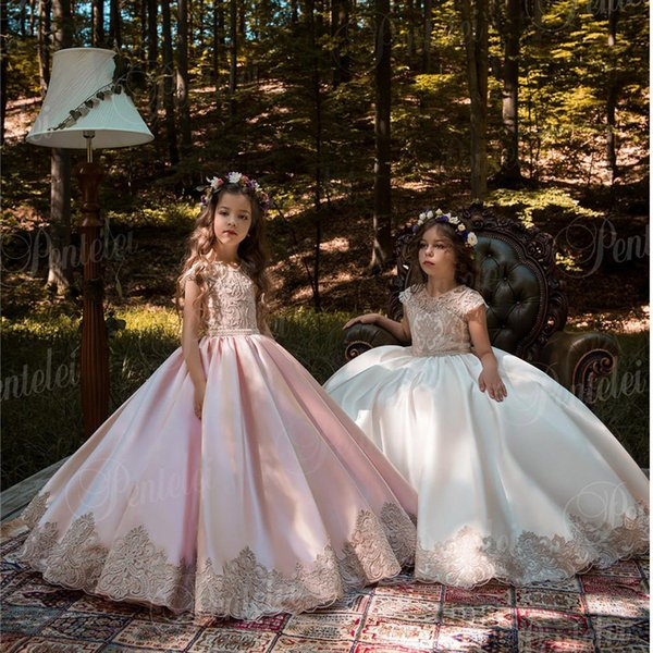 Vintage Pink Princess Flower Girl Dresses With Gold Lace Appliqued Wedding Party Tutu Kids Birthday Dresses