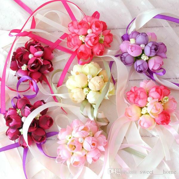 Wholsesle polso Corsage damigella d'onore delle sorelle Flowers mano artificiale di seta pizzo sposa Fiori Per decorazione della festa nuziale nuziale di promenade W6D