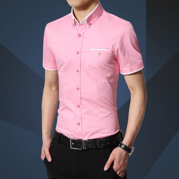 2018 Verano Nuevos Hombres Camisa de la Marca de Lujo de Los Hombres de Algodón de Manga Corta Camisa de Vestir Cuello de Cuello Cardigan Hombres Ropa # 388203