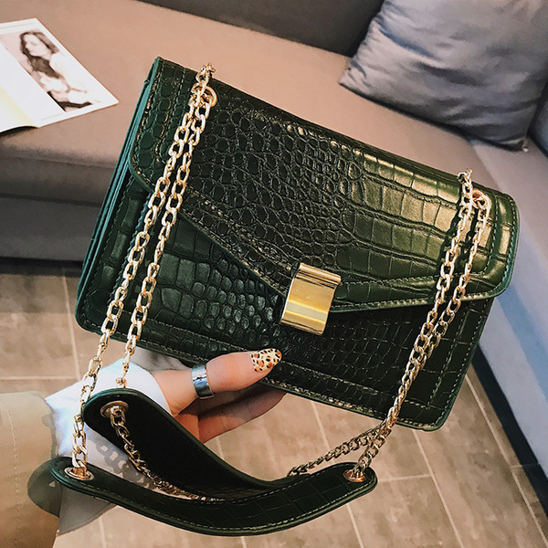 Moda europea Bolso Cuadrado Femenino 2019 Nueva Calidad Pu de Cuero de Las Mujeres Bolso de Diseñador de la Cadena de Cocodrilo Hombro Messenger Bags