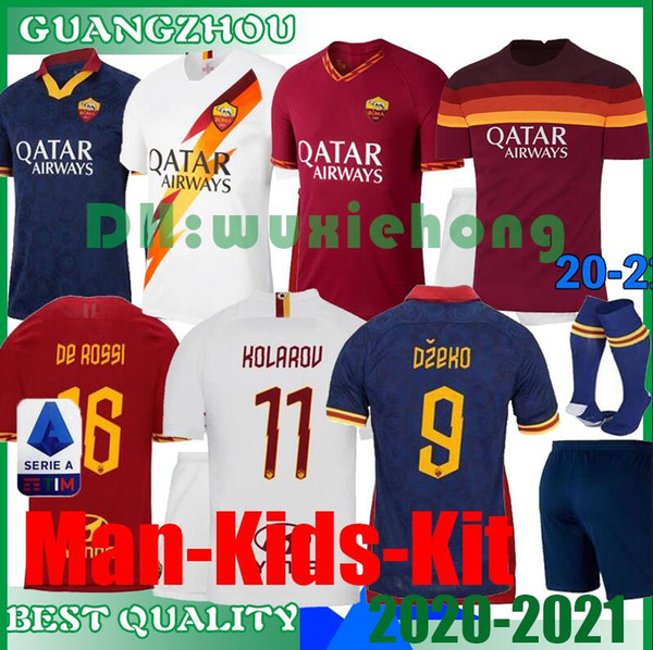top popular 2020 2021 Roma kids kit soccer jerseys 20 21 TOTTI DE ROSSI DZEKO PEROTTI PASTORE ZANIOLO AS football boys shirt ROMA Kids kit uniform 2020