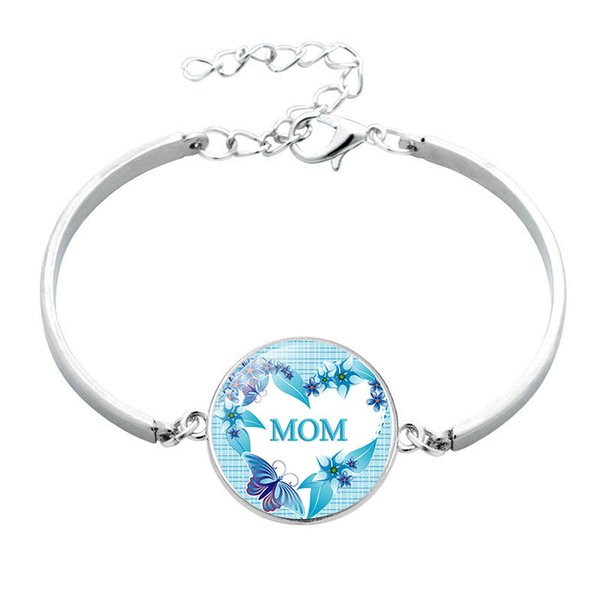 2019 New Mom Bangle Charm Cabochon Mom Rose Flower Love Bangle Wrist Bracelet Mother Day Gift