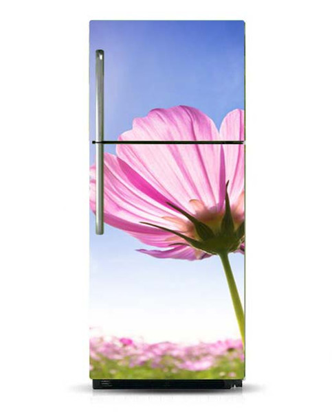 Fridge Vinyl Sticker Spring Pink Flowers Self-Adhesive Vinyl Refrigerator Decal / Fridge Wraps / Refrigerator Wrap/Dishwasher Sticker