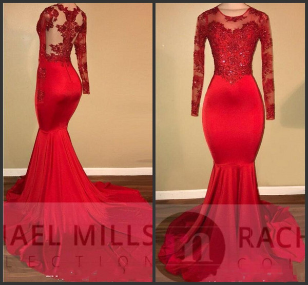 Sexy Elegant Red Prom Party Dresses Plus Size Mermaid Sheer Neck Appliqued Lace African Black Girls Evening Gowns Red Carpet Dress Vestido