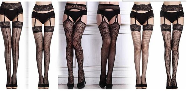 Sexy lace sling sexy stockings ultra-thin long fishnet socks adult open underwear temptation high tube pantyhose without underwear