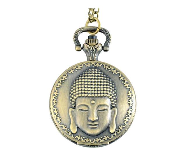Buddhism Theme Full Hunter Quartz Engraved Fob Retro Pendant Pocket Watch Chain Gift Fire Fighter Theme