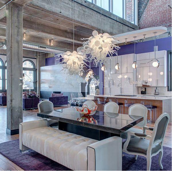 Novità Ciondolo Cafe Illuminazione a sospensione in vetro soffiato bianco a mano Applicazione alberghiera e sorgente luminosa a risparmio energetico