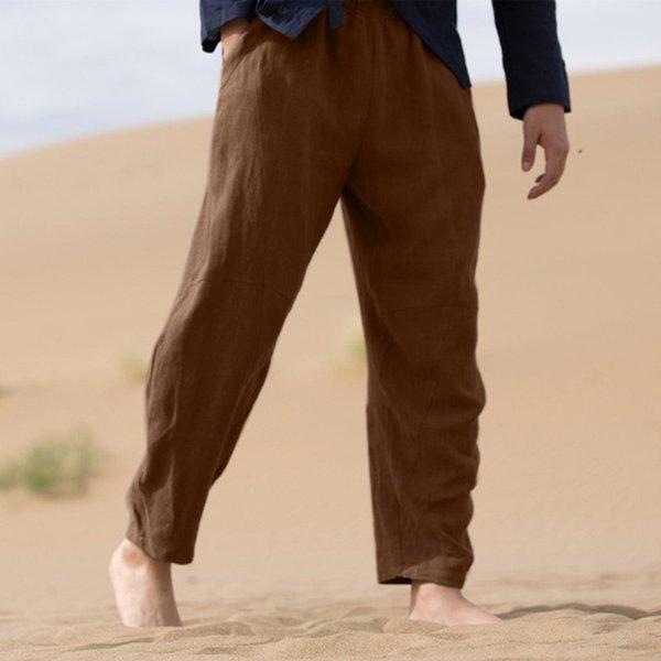 Men's Linen Pants Men Summer Casual Pants Wide Leg Trousers 2019 Drawstring Cotton Linen Long Trousers pantalones hombre