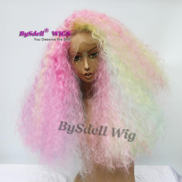 Einhorn Pastell Regenbogen Farbe Haar Perücke synthetische Lace Front Perücken verworrene lockige Perücke für Afroamerikaner schwarze Meerjungfrau Cosplay Frauen