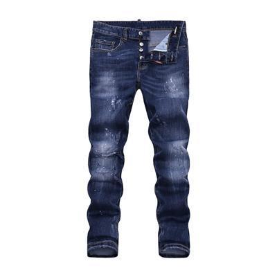 Wholesale slp blue black destroyed mens slim denim straight biker skinny jeans Casual Long men ripped jeans Size 28-38 free shipping DSQ20