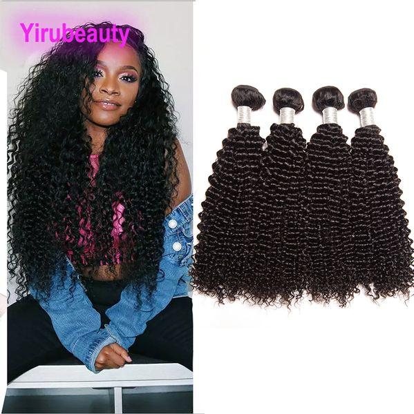 Cheveux vierges brésiliens crépus bouclés 4 faisceaux de cheveux humains pas cher 4piecs / lot Couleur naturelle Double Trames Extensions Crépus bouclés