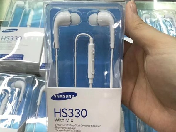 Wholesale HS330 J5 earphone with mic and Volume Control noodle flat cord for samsung i9500 S4 6 8 note 9 noise canceling with retail box