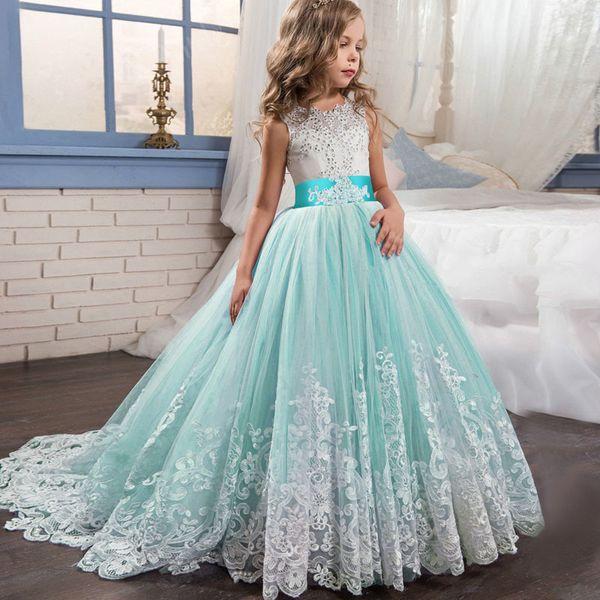 Flower Girl Wedding Evening Long Party Dresses Kids Dresses For Girls Princess Dress Teenage Dress 7 8 9 10 12 14 Year Vestidos J190616
