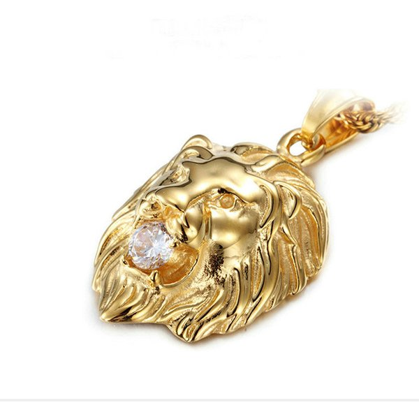 Lion Charms Fashion Rock Punk Style Man Pendant Necklace Delicate Jewelry Gift Gold Color Stainless Steel Necklace & Pendant