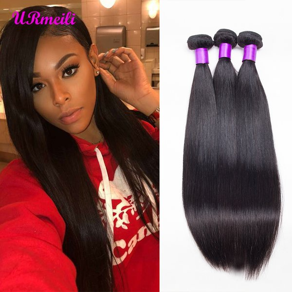 Brazilian Straight Virgin Hair Bundles URmeili cheap human hair weave 3/4 bundles dhgate 100% Remy Human Hair Weave Straight 30 inch bundles
