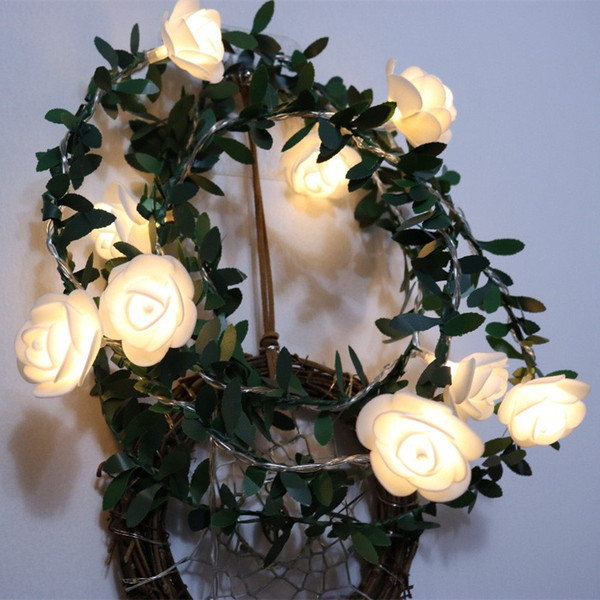 LED Beauty White Rose con Ivy Leaf Alimentato a batteria Fiore String Light Romantico San Valentino / Luci per decorazioni per feste di nozze
