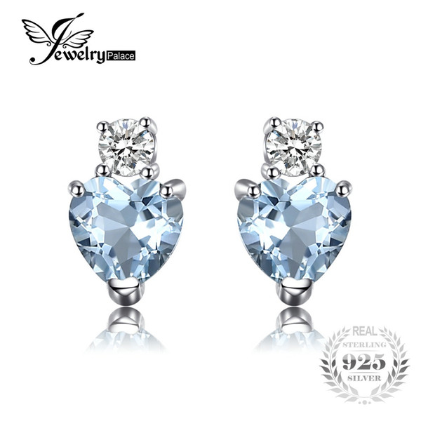 JewelryPalace Heart Love 1ct Natural Aquamarine White Topaz Post Stud Earrings For Women 925 Sterling Silver Brand Jewelry 2017