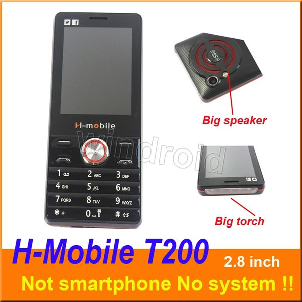 H-Mobile T200 2.8 inch Cheapest Mobile Phone Dual Sim Quad Band 2G GSM Phone Unlocked with big Flashlight torch speaker whats app DHL 20pcs