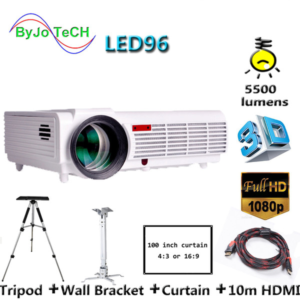 top popular Poner Saund LED96 LED Projector 5500 Lumen Full HD projector 1080P With 10m HDMI Tripod USB VGA AV 3D Proyector LCD Vs bt96 m5 2019