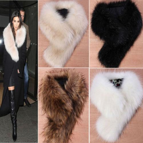Fashion Winter Style Outdoor Plush Scarves Trendy Women's Faux Fox Fur Warm Ring Scarf Shawl Raccoon Fur Collar Scarf