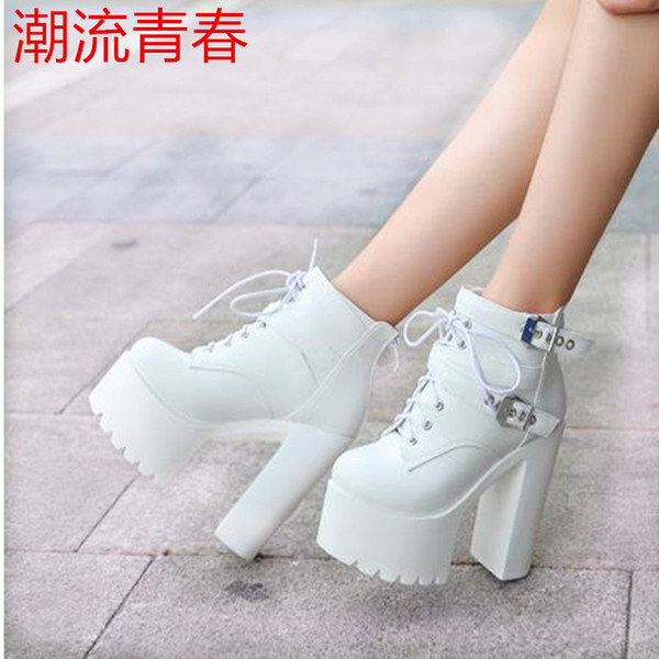 Womens Ladies Goth Punk Ankle Boots Lace Up Chunky High Heel Platform Shoes Size