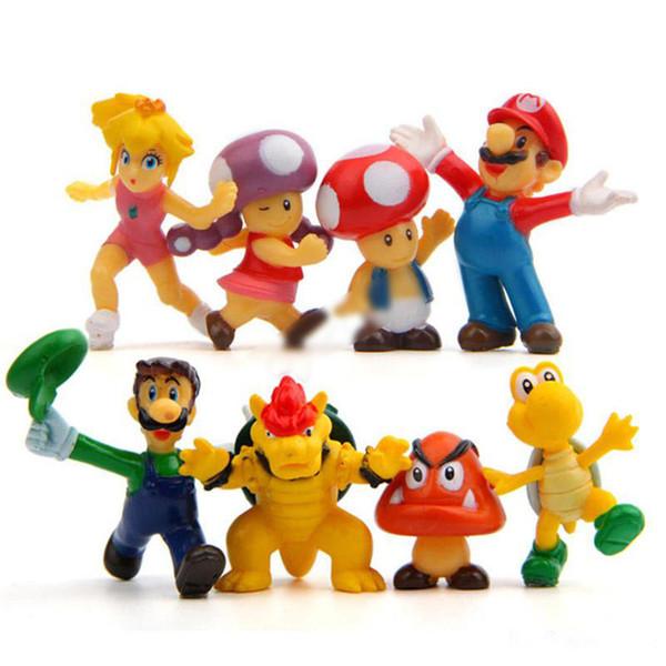 "8pcs/set Super Mario Bros 2"" action figures Mario Luigi Mushroom Toad Princess Action Figure Super Mario yoshi PVC For Kid toys"