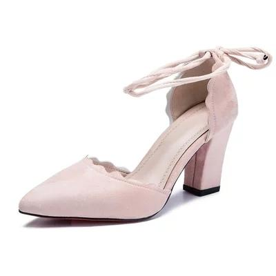 Designer Dress Shoes High Heels Women Pumps Two Piece Thick Heels Ladies Party Pink Summer Buckle Ankle StrapFootwear Large .