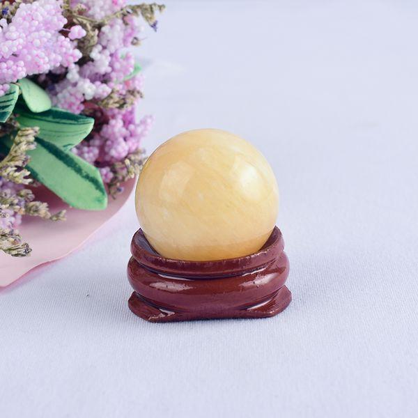 Amarillo Jade naturales Yoni Esfera piedra de la energía de 25 mm a mano cristalino de masaje que cura Chakra Reiki Benwa esfera de la bola con el soporte mineral