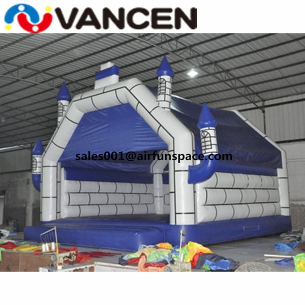 Ship to door cheap inflatable jumping castle blue color bouncers for outdoor playing children toy inflatable bouncy castle