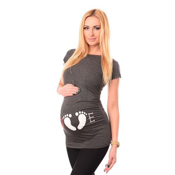 f5865c420 Moda de dibujos animados de maternidad camiseta Ropa de maternidad Ropa de  lactancia Huella Ropa embarazada
