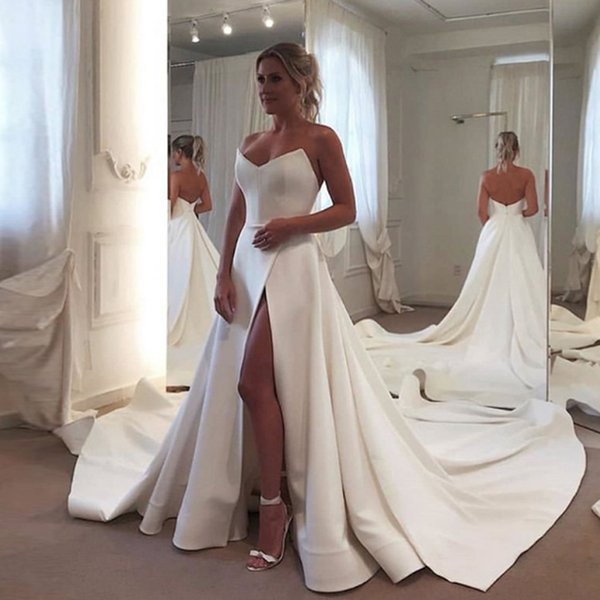 Cheap Satin Court Train Wedding Dress robes de mariée Sweetheart Neck Front Split Zipper Back Plus Size Bridal Gown vestidos de novia