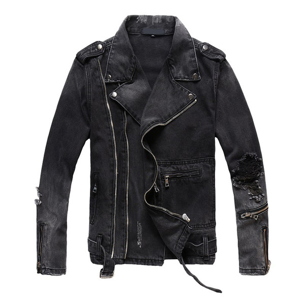 Brand New Mens Designer Jacke Hip Hop Distressed Zipper Jacke Casual Luxury Men Coat Schwarz Größe M-4XL
