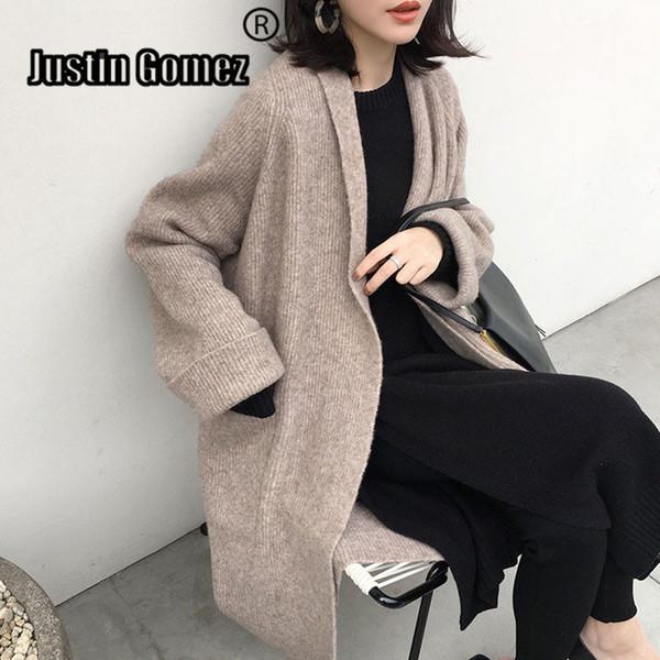 Automne Nouveau Arrivée tricotée Femmes Long Cardiga avec ceinture et poche Pull à manches longues Corée Tricot Vêtements d'hiver SH190927 femmes