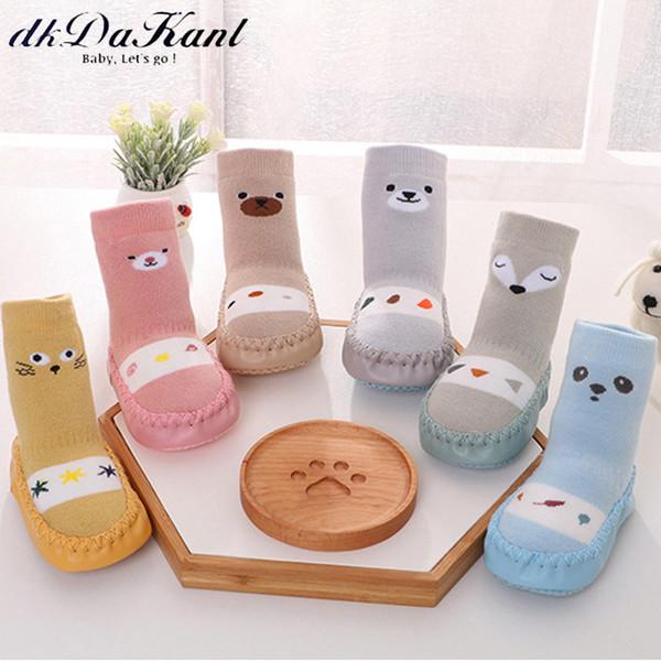 dKDaKanl New Baby's Wool Floor Socks Non Slip Cotton Non-skid Socks For Newborn Baby Girls Boys Pre Walker Shoes Toddler SO546C