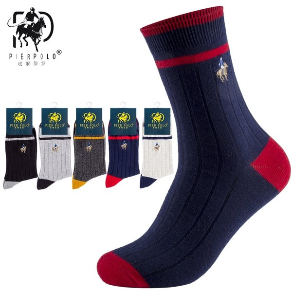 High Quality Brand PIER POLO Spell Color Striped Socks Fashion Cotton Crew Socks Business Embroidery Autumn Winter Men's SocksMX190902