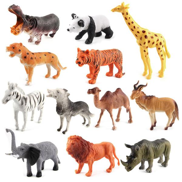 동물원 동물 모델 액션 피규어 동물원 공원 시뮬레이션 타이거 라이온 파나다 캥거루 모델 어린이를위한 교육용 장난감 교육용 인형 롤