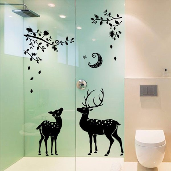 3D Black Deer Silhouette Wall Stickers Home Decor Bathroom Window Wall Decal Self-adhesive Tree Branches Moon Art Mural Poster
